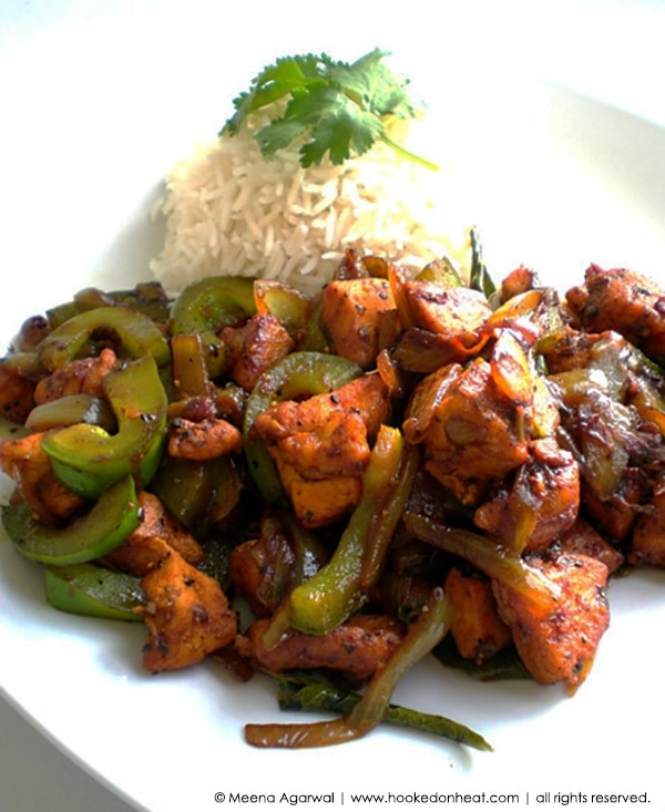 Recipe for Black Pepper Chicken taken from www.hookedonheat.com. Visit site for detailed recipe.