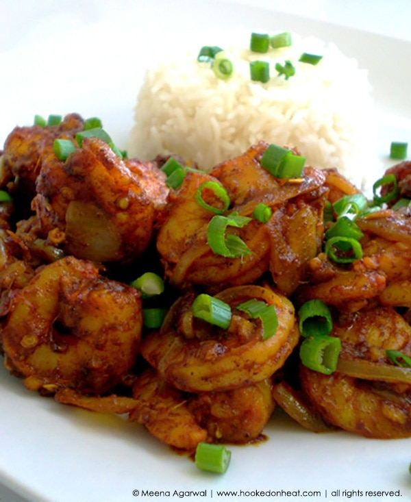 Recipe for Ginger-Chilli Shrimp taken from www.hookedonheat.com. Visit site for detailed recipe.