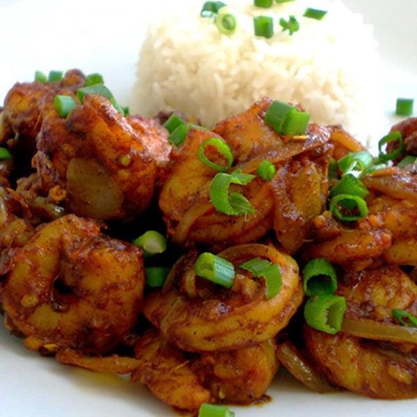Recipe for Ginger-Chilli Shrimp taken from www.hookedonheat.com. Visit site for detailed recipe.