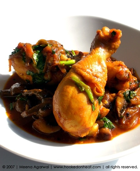 Recipe for Chicken & Mushrooms taken from www.hookedonheat.com. Visit site for detailed recipe.