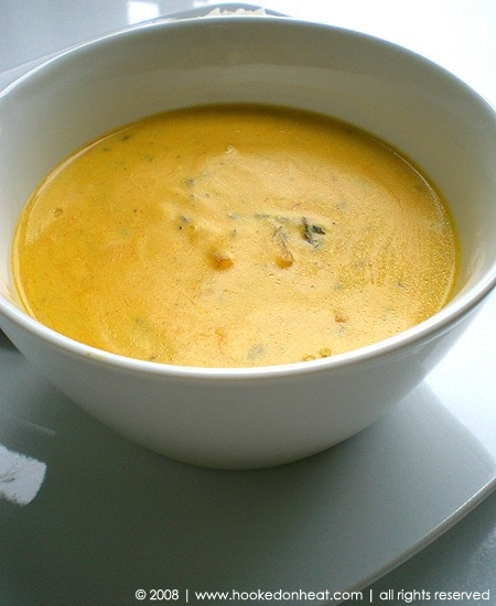 Recipe for Rajasthani Kadhi taken from www.hookedonheat.com. Visit site for detailed recipe.