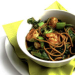 Recipe for Honey-Garlic Noodles with Shrimp & Greens taken from www.hookedonheat.com. Visit site for detailed recipe.