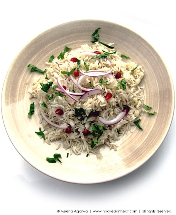 Recipe for Jeera Pulao (Cumin Pilaf) taken from www.hookedonheat.com. Visit site for detailed recipe.