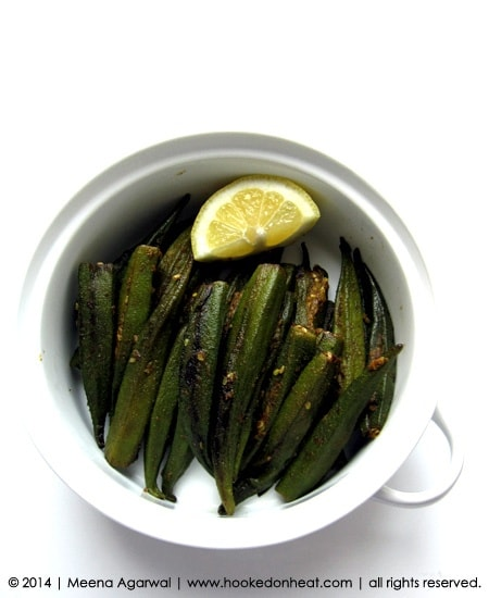 Recipe for Bharwaan Bhindi taken from www.hookedonheat.com. Visit site for detailed recipe.