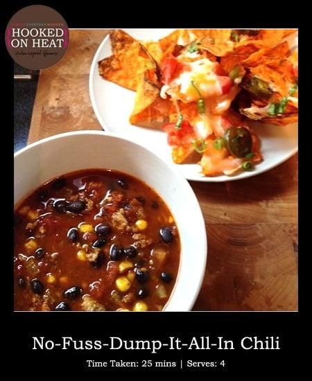 Recipe for No-Fuss Chili taken from www.hookedonheat.com