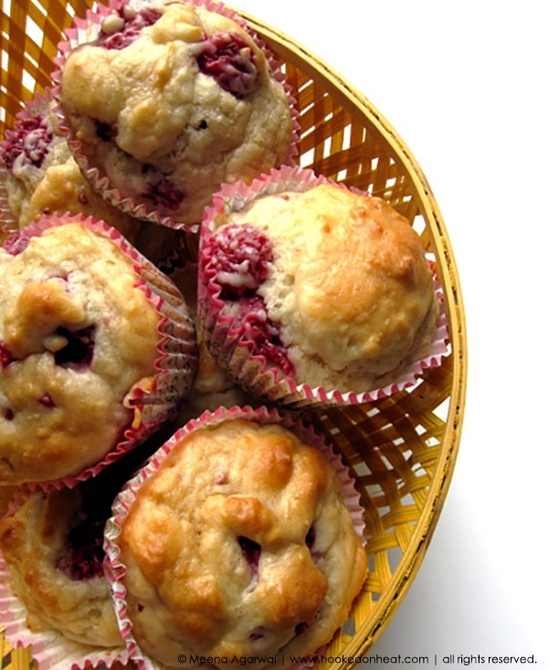 Recipe for Raspberry Yogurt Muffins taken from www.hookedonheat.com. Visit site for detailed recipe.
