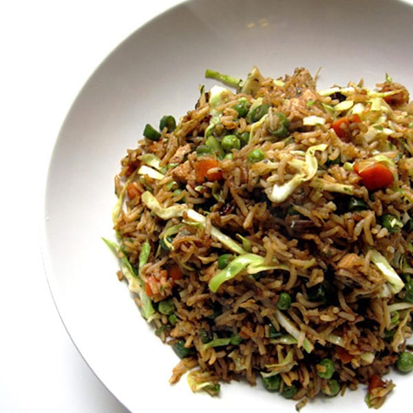 Recipe for Chicken Fried Rice taken from www.hookedonheat.com. Visit site for detailed recipe.