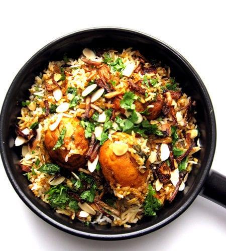 Recipe for Egg Biryani, taken from www.hookedonheat.com. Visit site for detailed recipe.
