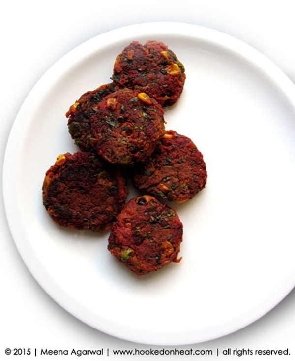 Recipe for School Lunch Idea: Spinach & Beet Cutlets, taken from www.hookedonheat.com. Visit site for detailed recipe.