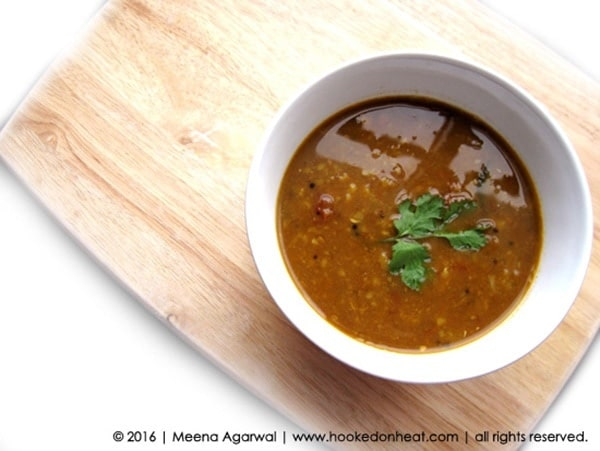 Recipe for Sambhar, taken from www.hookedonheat.com. Visit site for detailed recipe.