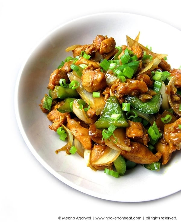 Recipe for Chilli Chicken taken from www.hookedonheat.com. Visit site for detailed recipe.