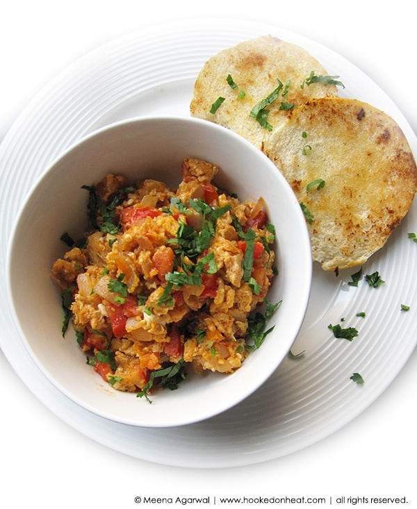 Recipe for Masala Egg Burji, taken from www.hookedonheat.com. Visit site for detailed recipe.