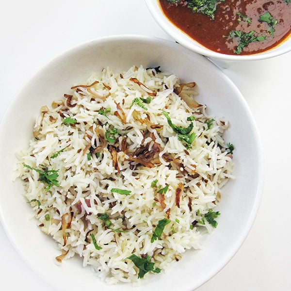 Recipe for Jeera Rice, taken from www.hookedonheat.com. Visit site for detailed recipe.