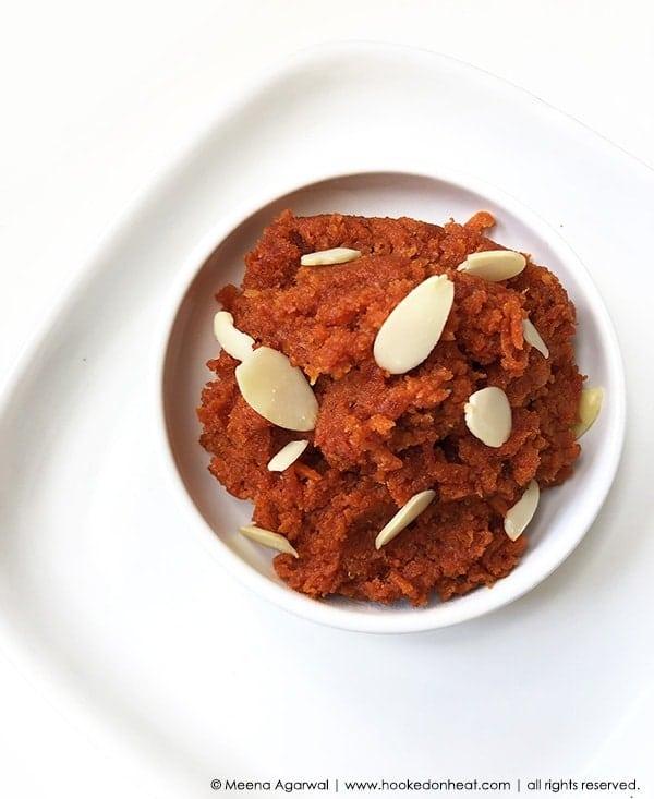 Recipe for Dairy-Free Gajar Halwa taken from www.hookedonheat.com. Visit site for detailed recipe.