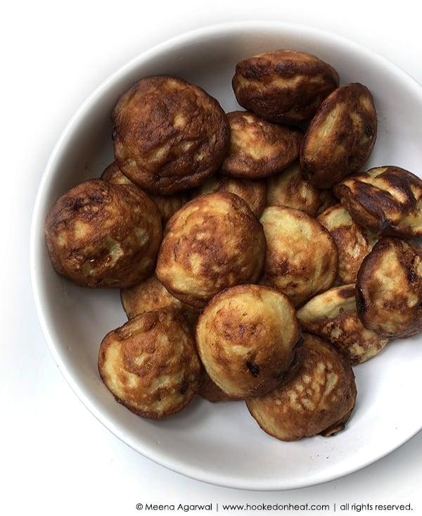 Recipe for Banana Pancake Balls, taken from www.hookedonheat.com. Visit site for detailed recipe.