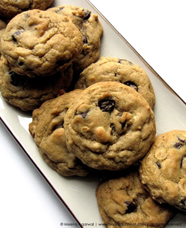 Recipe for Choco-Chip & Oats Cookies, taken from www.hookedonheat.com. Visit site for detailed recipe.