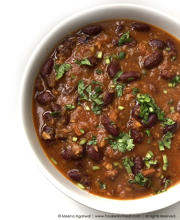 Recipe for Rajma (from Canned Beans), taken from www.hookedonheat.com. Visit site for detailed recipe.