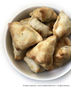 Recipe for Baked Samosas taken from www.hookedonheat.com. Visit site for detailed recipe.