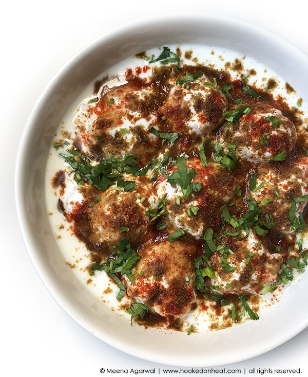 Recipe for Dahi Vadas (Dahi Bhalla) taken from www.hookedonheat.com. Visit site for detailed recipe.