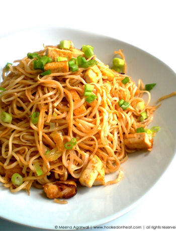 Recipe for Garlic Tofu Noodles taken from www.hookedonheat.com. Visit site for detailed recipe.