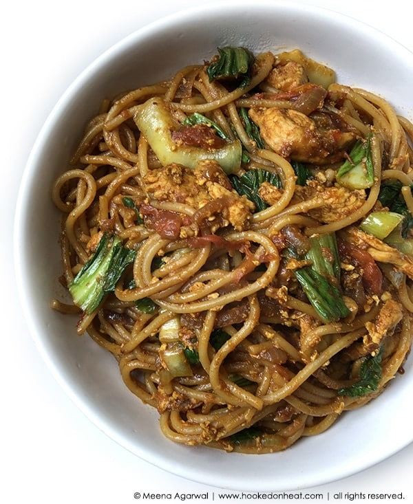 Recipe for Mee Goreng (Malay-style Noodles) taken from www.hookedonheat.com. Visit site for detailed recipe.