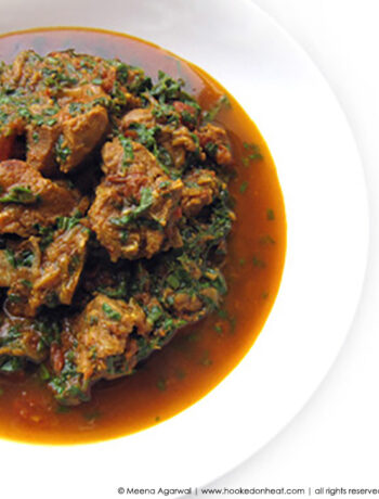 Recipe for Palak Gosht (Lamb & Spinach Curry) taken from www.hookedonheat.com. Visit site for detailed recipe.