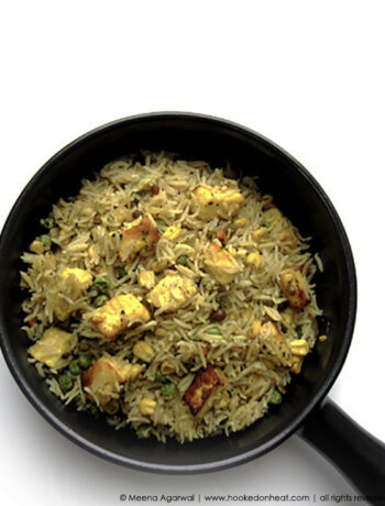 Recipe for Vegetable Pulao with Paneer taken from www.hookedonheat.com. Visit site for detailed recipe.