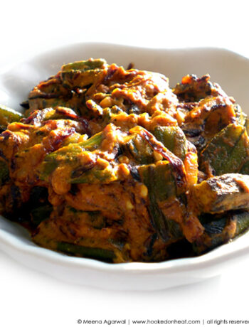 Recipe for Dahi Bhindi taken from www.hookedonheat.com. Visit site for detailed recipe.
