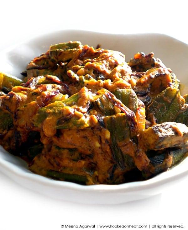 Recipe for Dahi Bhindi taken from www.hookedonheat.com. Visit site for detailed recipe.