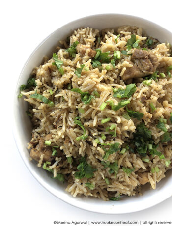 Recipe for Instant Pot Chicken Pulao taken from www.hookedonheat.com. Visit site for detailed recipe.