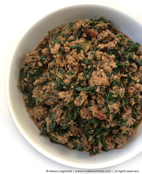 Recipe for Palak Keema taken from www.hookedonheat.com. Visit site for detailed recipe.