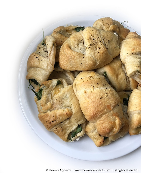 Recipe for Spinach & Cheese Croissants taken from www.hookedonheat.com. Visit site for detailed recipe.